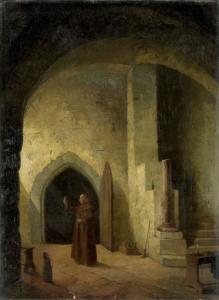 地下室でグラスを持った僧侶