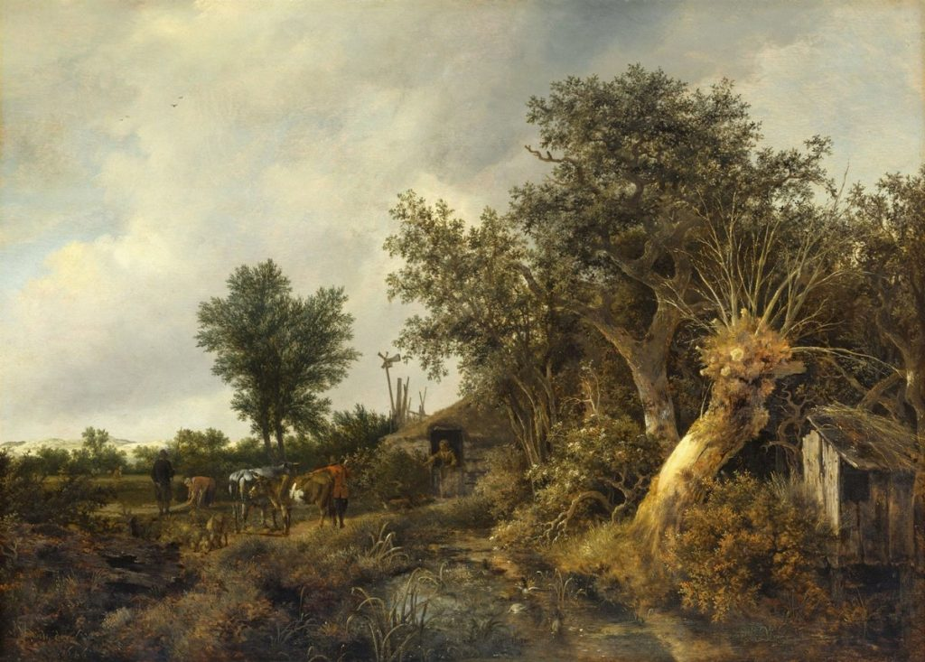 小屋と木々のある風景