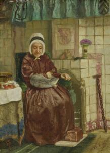 暖炉と老女