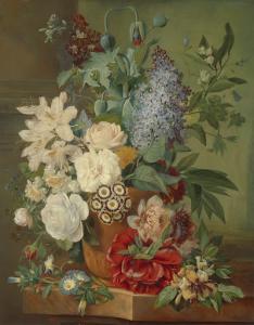 テラコッタの花瓶の花