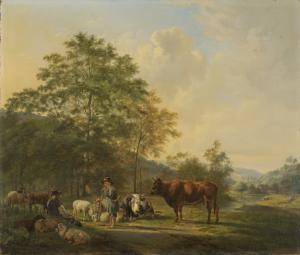 牛飼いと家畜商人と牛がいる丘の風景