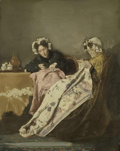 縫物をしている二人の女性