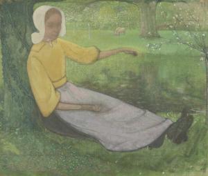 木の下に座っている、ヒュイゼンの女