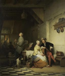 17世紀の衣装を着た人々がいる宿の中