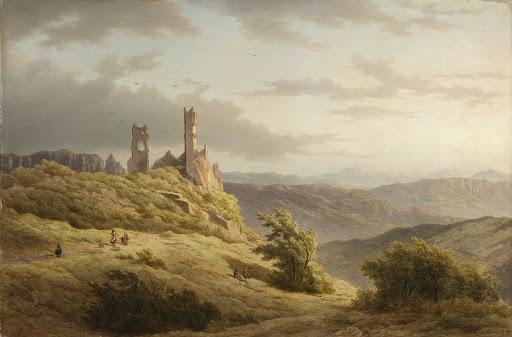 廃墟のある山の風景