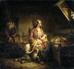 貧しい家族を訪問する裕福な女性