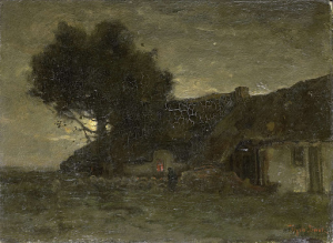 夕暮れ時の羊小屋