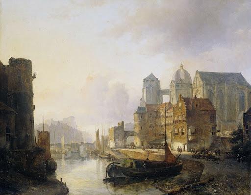 アーヘン大聖堂がある川沿いの町の空想的眺め