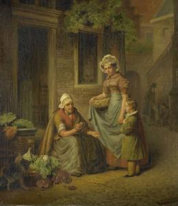 野菜を売っている女性