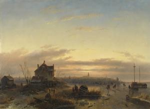 アムステルダムのアイ湾の冬