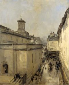 ノートルダム・ド・ロレット教会とフレシエ通り、パリ