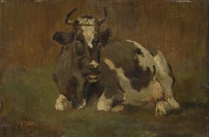 横になっている牛