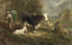 牛がいる農場の庭