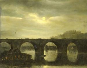 月明りのパリ、セーヌ川にかかる橋