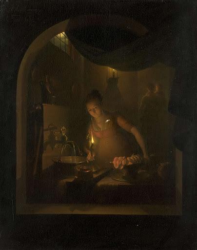 ランプの灯りに照らされた台所