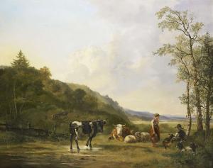 牧夫と牛の風景