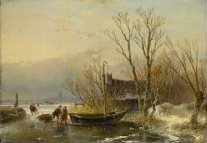 木の採集者と氷の上の冬景色