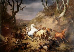 乗り手の一行を攻撃している飢えた狼