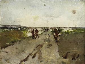 ワールスドルプ近くの風景、演習の兵士