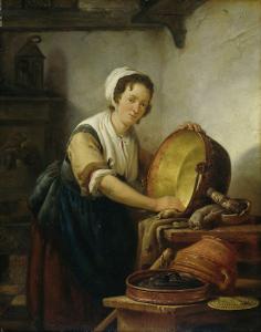 大なべを磨く女