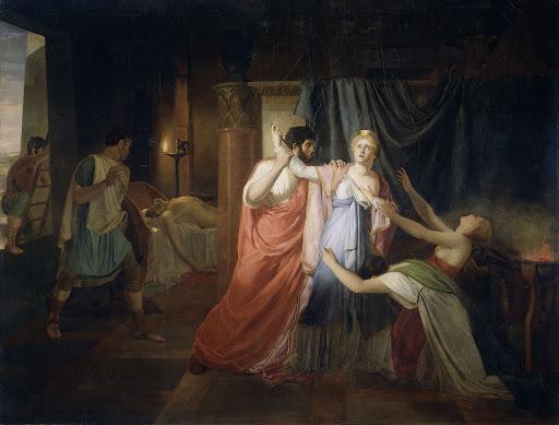 クレオパトラの自害を止めているプロキュレイウス