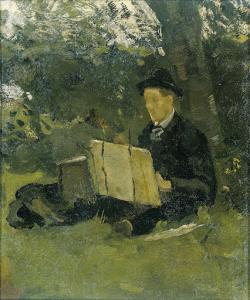 ハッテムの木の下で絵を描いているヤン・フェルカーデ(1868-1946)