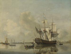 ロッテルダム沖のマースの、海軍のフリゲート「ロッテルダム」