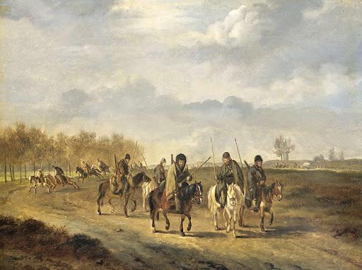 1813年、北オランダのベルゲン近郊の田舎道にいるコサック軽騎兵