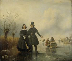 氷上のティッセン夫妻の肖像