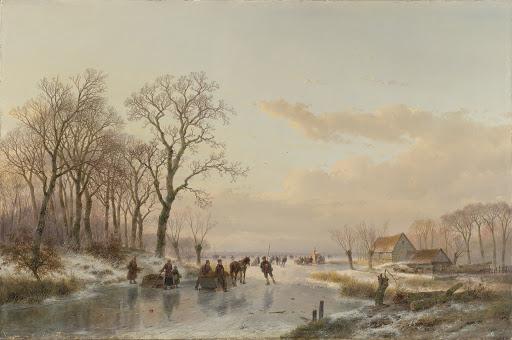 マース川近くにある凍った運河。