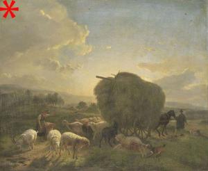 羊と干し草の荷馬車がある風景