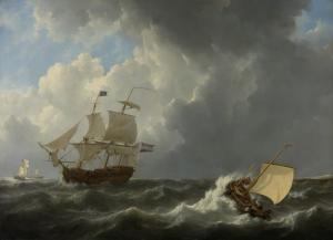 荒れ狂う海の船