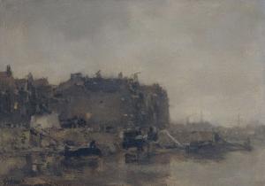 プリンス・ヘンドリケードの家々、アムステルダム、霧の日