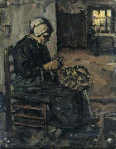 ジャガイモの皮をむいている農家の女