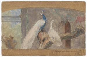 扉の上のためのデザイン:枝にいる孔雀と鳥