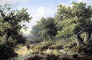 旅人と森の風景画