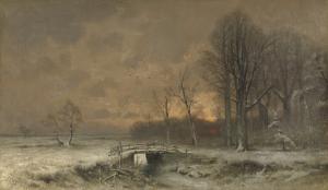 木の後ろの太陽と冬景色