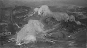 浮遊船に登るホッキョクグマ