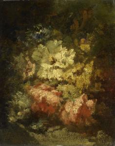 白や赤のバラの静物