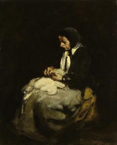 縫物をしている女