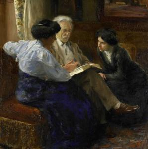 画家の二番目の夫、二人のイタリアの少女の家庭教師をしているアルフォンス・マリー・アントワーヌ・ヨセフ・グランドモント(1837-1909)