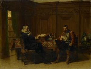 17世紀の部屋の中にいる二人の男、表題「会議」