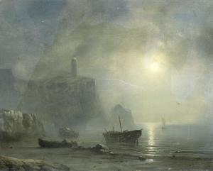 月光に照らされた岩の海岸の眺め