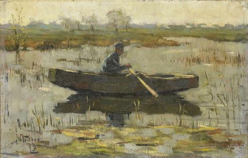船を漕いでいる男