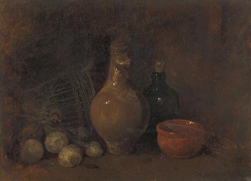 四つの果物とグラスと陶器の静物