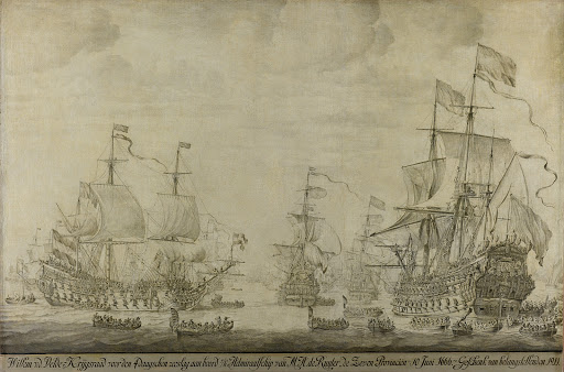 """4日間の戦闘に先立つ1666年6月10日、ミシェル・アドリアンツ・ド・ロイターの戦艦""""7つの州""""に乗船して開かれた評議会:第二次英蘭戦争からのエピソード"""