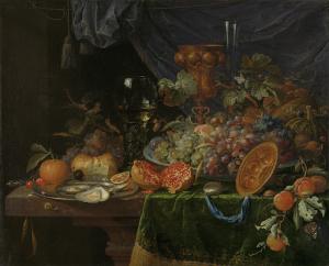 果物と牡蠣の静物画