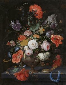 花と時計の静物画