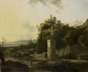 円塔のあるイタリア風景