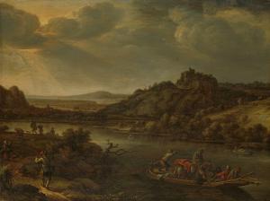 フェリーがある川の風景